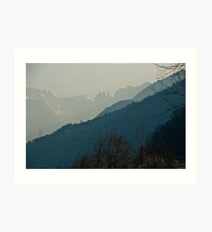 Dolomites and foreground hills, view from Bolzano/Bozen, Italy Art Print