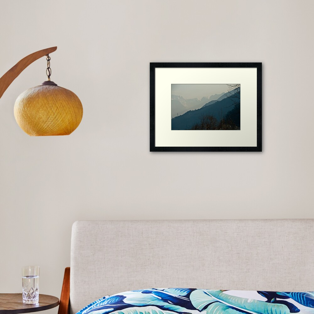 Dolomites and foreground hills, view from Bolzano/Bozen, Italy Framed Art Print