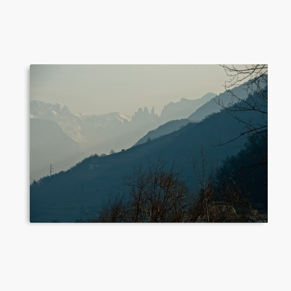 Dolomites and foreground hills, view from Bolzano/Bozen, Italy Canvas Print