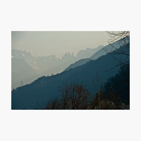 Dolomites and foreground hills, view from Bolzano/Bozen, Italy Photographic Print