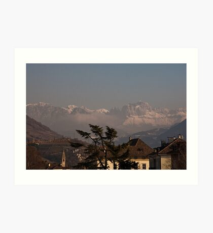 Dolomites and low-hanging clouds, view from Bolzano/Bozen, Italy Art Print