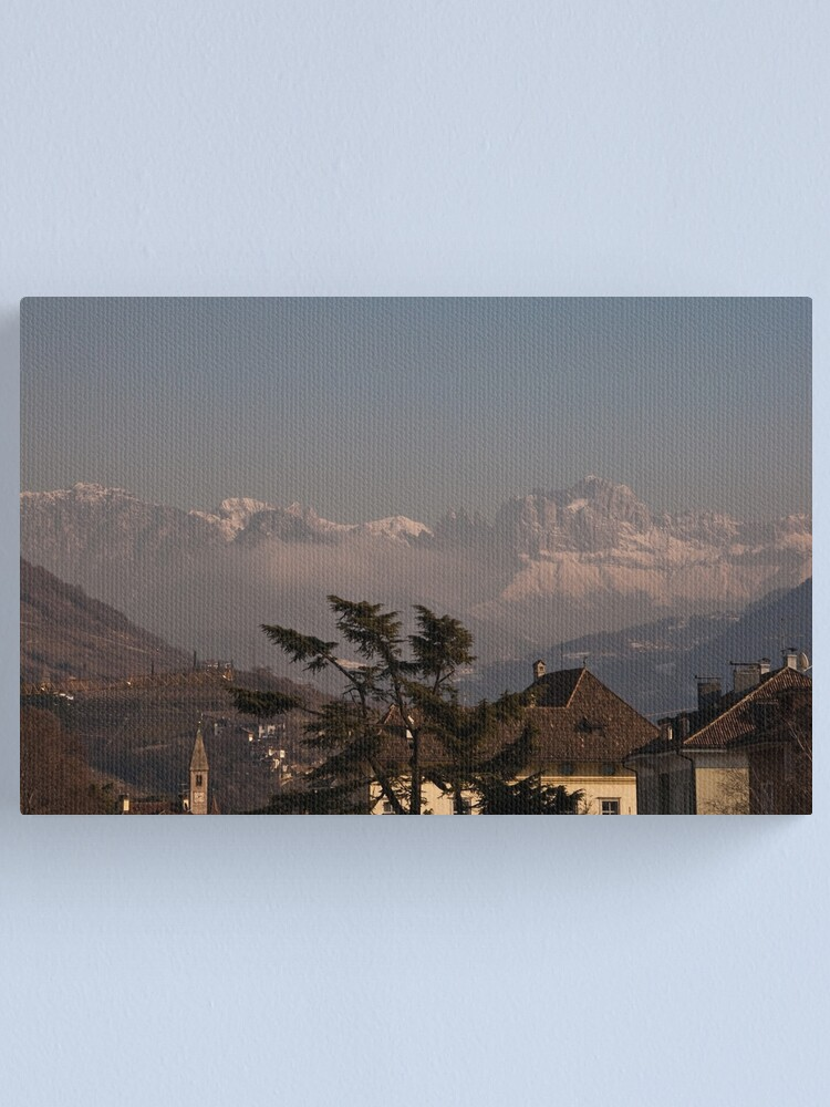 Alternate view of Dolomites and low-hanging clouds, view from Bolzano/Bozen, Italy Canvas Print