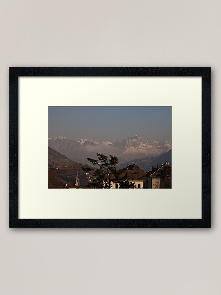 Alternate view of Dolomites and low-hanging clouds, view from Bolzano/Bozen, Italy Framed Art Print