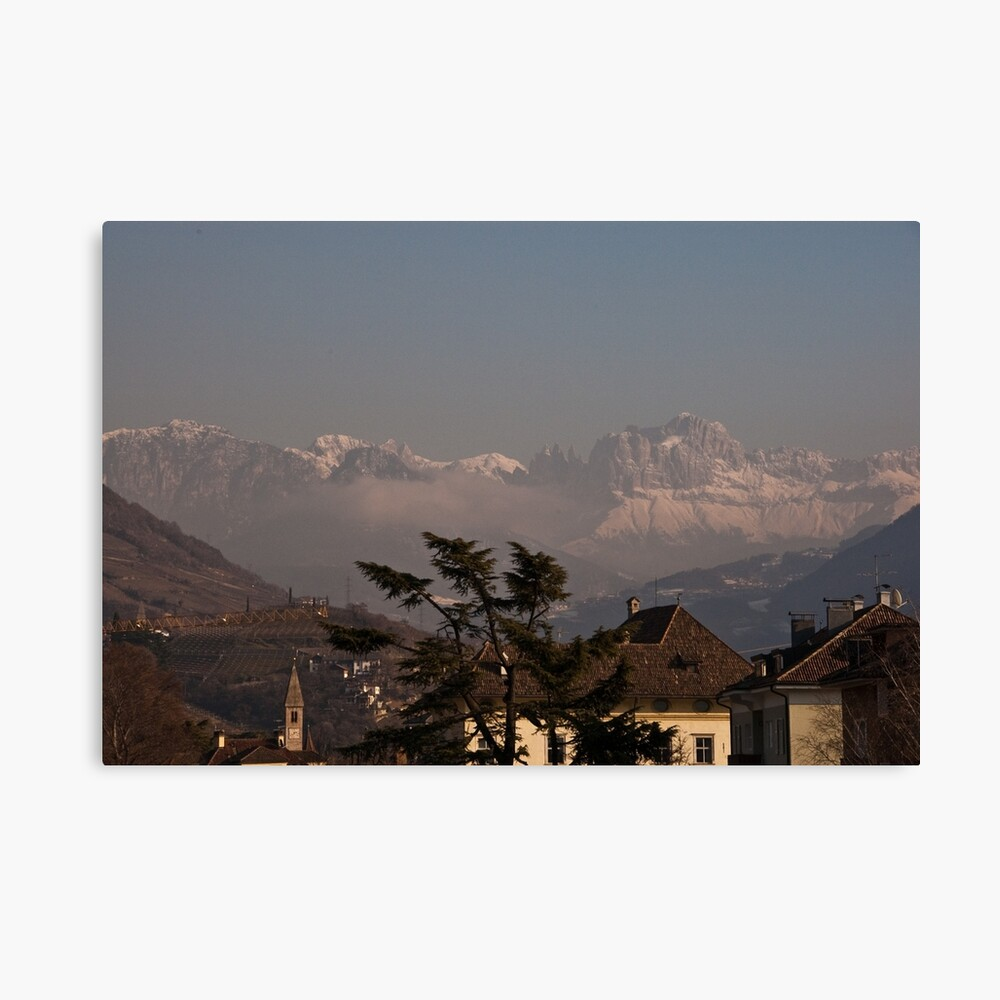 Dolomites and low-hanging clouds, view from Bolzano/Bozen, Italy Canvas Print