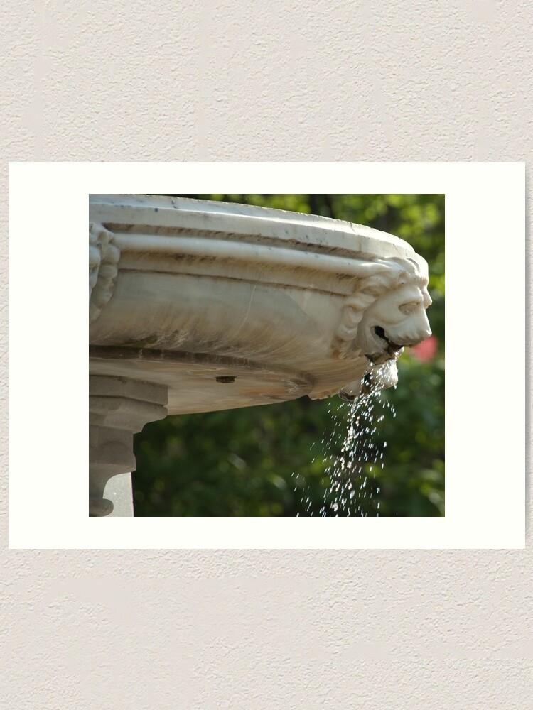 Alternate view of LIon Head Fountain, Piazza Walther, Bolzano/Bozen, Italy Art Print