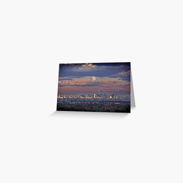 Full Moon Over New York, USA Greeting Card