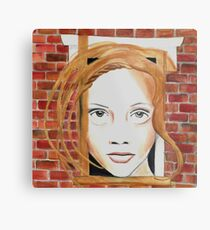 Face in the Wall Metal Print