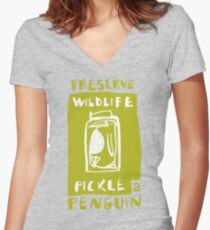 Pickle a Penguin Women's Fitted V-Neck T-Shirt