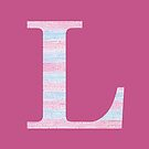Letter L Blue And Pink Dots And Dashes Monogram Initial by theartofvikki