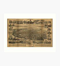 Vintage Pictorial Map of Sacramento CA (1890s) Art Print