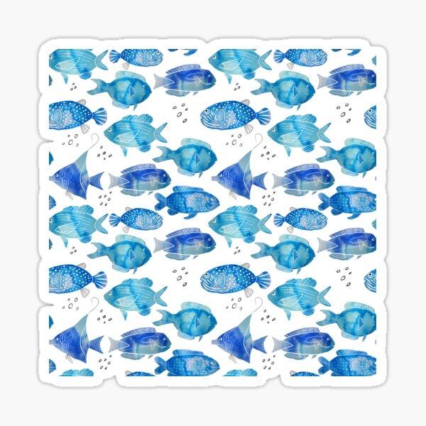 Watercolor Fish Blue Sticker