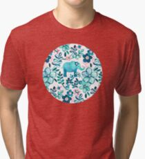 Dusty Pink, White and Teal Elephant and Floral Watercolor Pattern Tri-blend T-Shirt