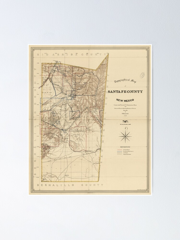 Vintage Map of Santa Fe County NM (1883) | Poster