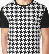 Camiseta gráfica Houndstooth piet de poule negro