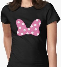 Polka Dot Bow - Pink Women's Fitted T-Shirt