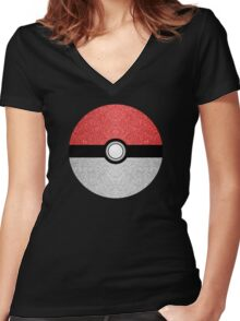 Sparkly red and silver sparkles poke ball Women's Fitted V-Neck T-Shirt