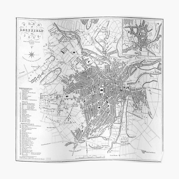 Vintage Map of Sheffield England (1823) Poster