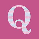 Letter Q Blue And Pink Dots And Dashes Monogram Initial by theartofvikki