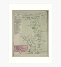 Hamptons New York Map.Vintage Map Of The Hamptons Art Prints Redbubble