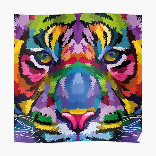 Colorful tiger face close up Poster