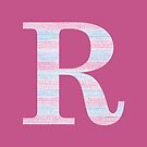Letter R Blue And Pink Dots And Dashes Monogram Initial by theartofvikki