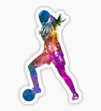 Girl playing soccer football player silhouette Sticker