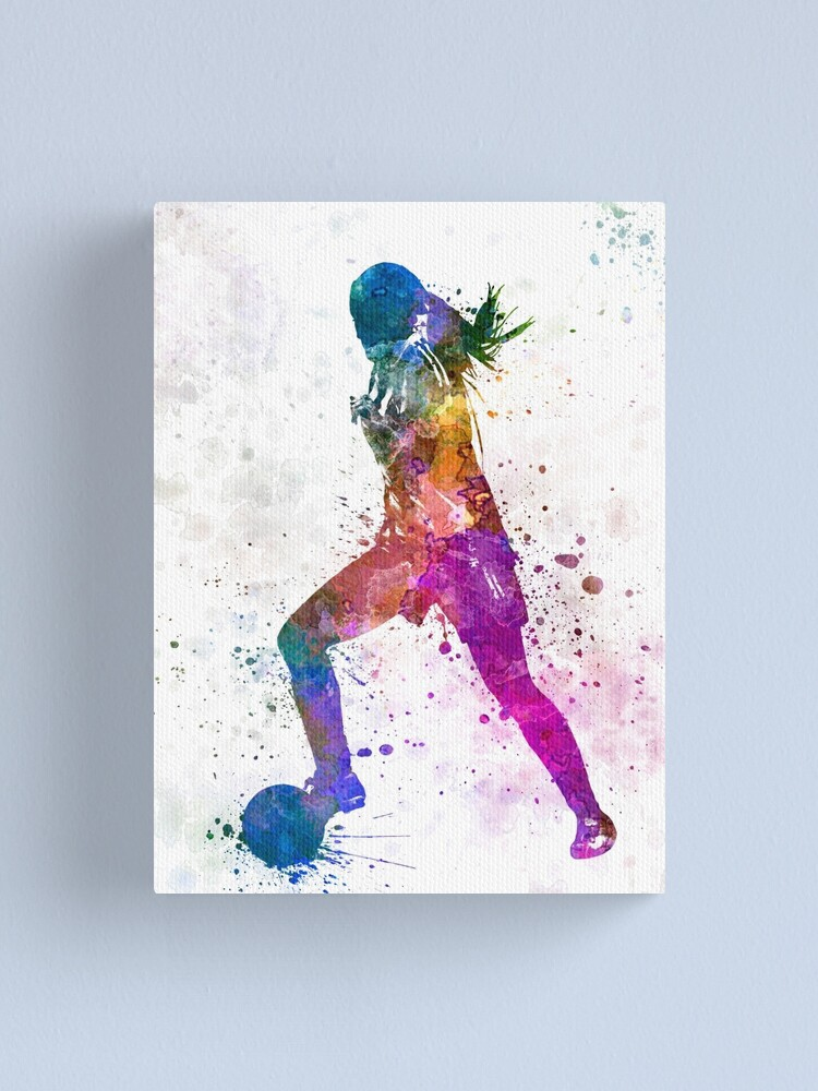 Alternate view of Girl playing soccer football player silhouette Canvas Print
