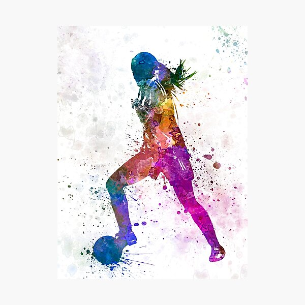 Girl playing soccer football player silhouette Photographic Print