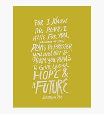 Jeremiah 29: 11 x Mustard Photographic Print