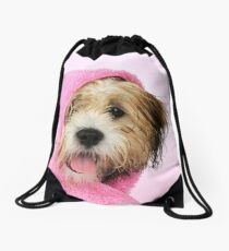 Cute Teddy Bear dog wrapped in a pink towel Drawstring Bag