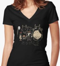 Tribute to Miyazaki Women's Fitted V-Neck T-Shirt