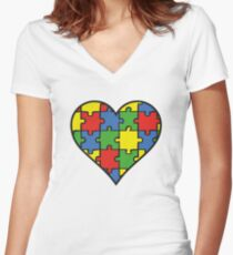 Autism Awareness Heart Women's Fitted V-Neck T-Shirt