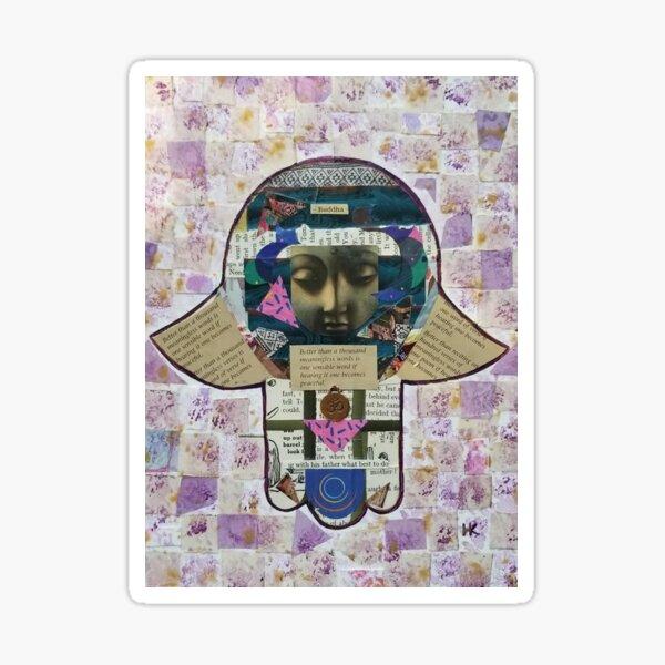 Buddha Speaks Hamsa by Harriette Knight Sticker