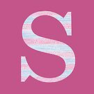 Letter S Blue And Pink Dots And Dashes Monogram Initial by theartofvikki