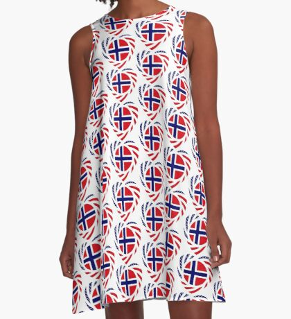 Norwegian American Multinational Patriot Flag Series 2.0 A-Line Dress