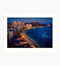 Waikiki Beach and Honolulu Skyline, Hawaii Art Print
