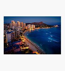 Waikiki Beach and Honolulu Skyline, Hawaii Photographic Print