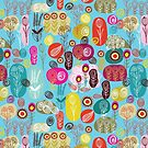 Cute Colorful Abstract Retro Flowers Blue Tones by artonwear