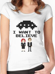 I Want To Believe 8bit Women's Fitted Scoop T-Shirt
