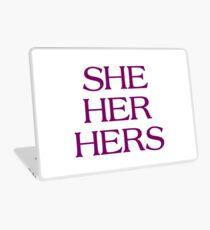Pronouns - SHE / HER / HERS - LGBTQ Trans pronouns tees Laptop Skin