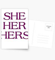 Pronouns - SHE / HER / HERS - LGBTQ Trans pronouns tees Postcards