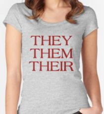 Pronouns - THEY / THEM / THEIR - LGBTQ Trans pronouns tees Women's Fitted Scoop T-Shirt