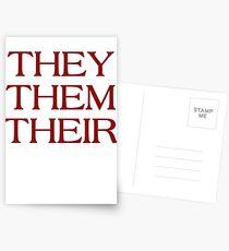 Pronouns - THEY / THEM / THEIR - LGBTQ Trans pronouns tees Postcards