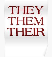 Pronouns - THEY / THEM / THEIR - LGBTQ Trans pronouns tees Poster