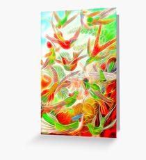 Plants & Animals, humming bird, rainforest, hummingbirds, psychedelic, art, illustration, haeckel,  Greeting Card