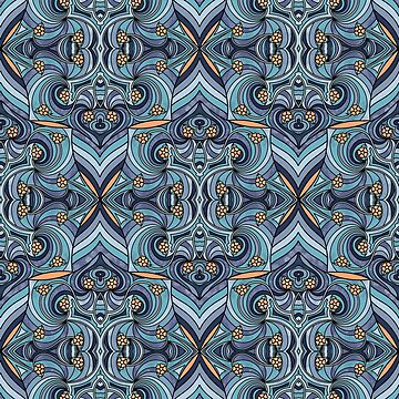 Abstract Doodle Pattern in Blues by ArtformDesigns