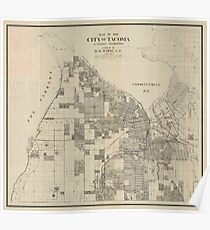 Vintage Map of Tacoma Washington (1907) Poster
