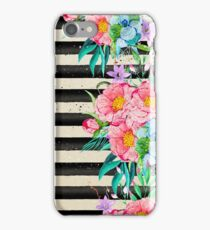 Modern stripes and tropical flowers hand paint iPhone Case/Skin