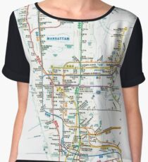 MTA-NYC-Manhattan Subway Line/Map Chiffon Top