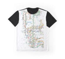 MTA-NYC-Manhattan Subway Line/Map Graphic T-Shirt